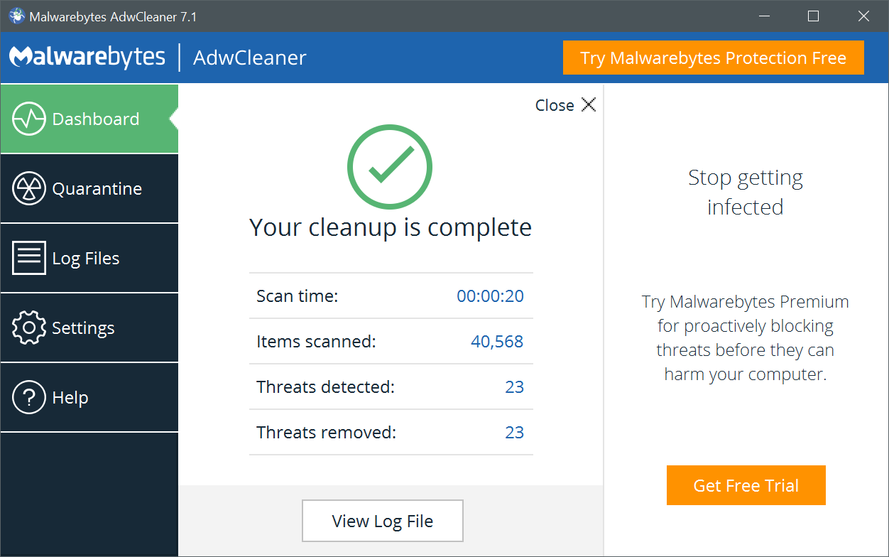 anti malware adw cleaner removes noad variance TV adware virus