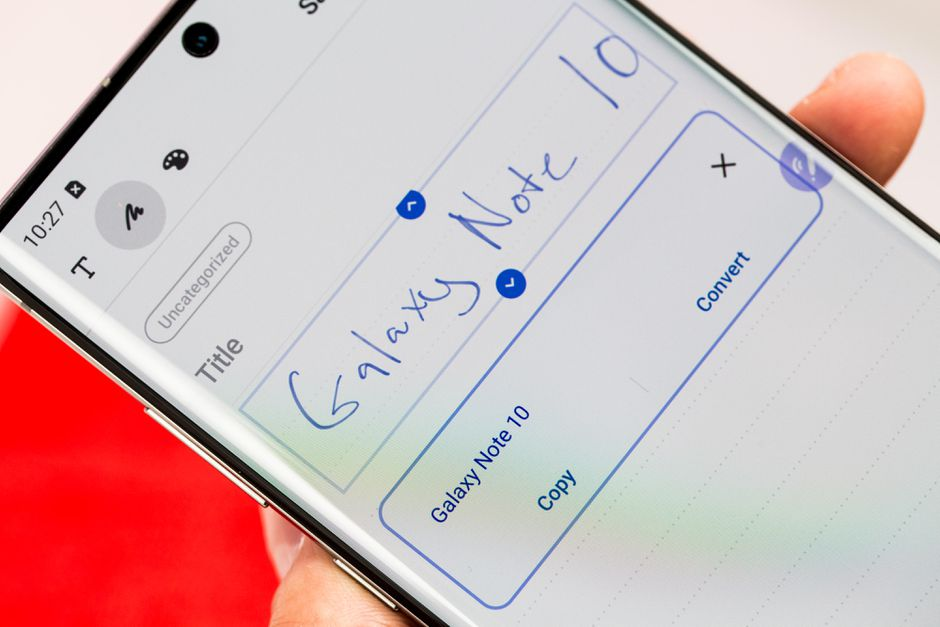 converting notes to text in the galaxy note10